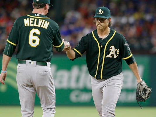 Oakland Athletics manager Bob Melvin (6) pulls starting pitcher Daniel Mengden during the fifth inning of a baseball game against the Texas Rangers in Arlington, Texas, Monday, July 25, 2016. The Rangers won 7-6. (AP Photo/LM Otero)