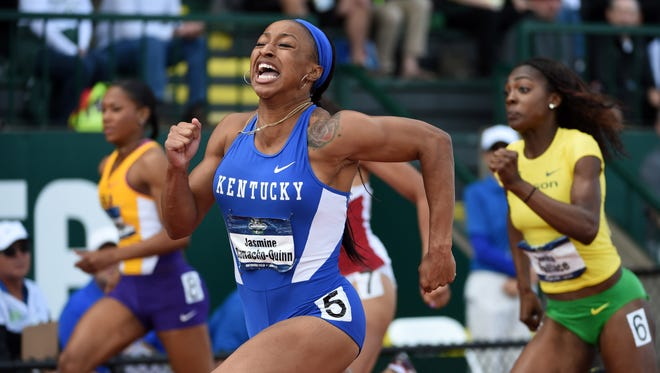 Jun 11, 2016; Eugene, OR, USA; Jasmine Camacho-Quinn of Kentucky celebrates after winning the womens 100m hurdles in 12.54 during the 2016 NCAA Track and Field championships at Hayward Field. Mandatory Credit: Kirby Lee-USA TODAY Sports