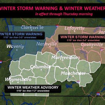 Winter storm qarning and winter weather advisory information