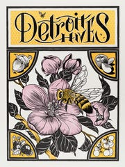 """Louise """"Ouizi"""" Jones' poster for Detroit Hives, a honey"""