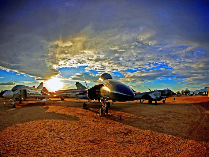 A monsoon sunset at the Pima Air & Space Museum in Tucson.