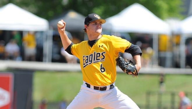 Southern Miss pitcher James McMahon throws a pitch as they take on Houston. / Photo by Ryan Moore