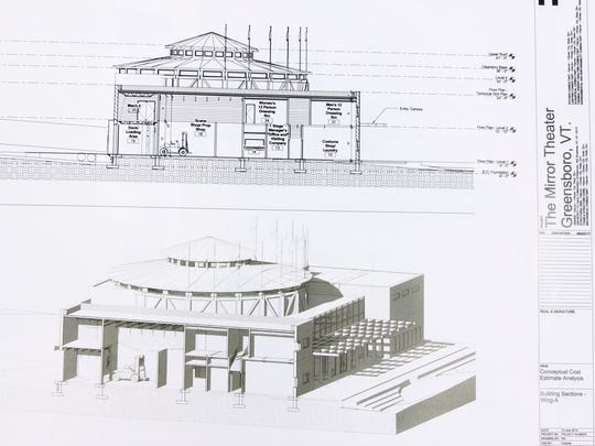 An architectural drawing shows the cross-section of a proposed new theater to be built on the site at Upper East Hardwick Street in Greensboro, Wednesday.