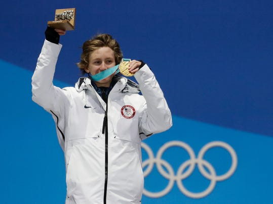 Men's slopestyle gold medalist Red Gerard, of the United States, celebrates during the medals ceremony at the 2018 Winter Olympics in Pyeongchang, South Korea, Sunday, Feb. 11, 2018. (AP Photo/Morry Gash)