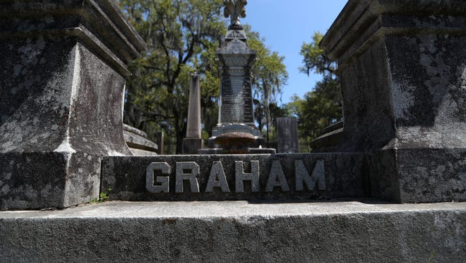 a Monument for the Graham family where students from FSU's Cities and Cemeteries class map Tallahassee's downtown cemetery for their studies on Friday, March 23, 2018.