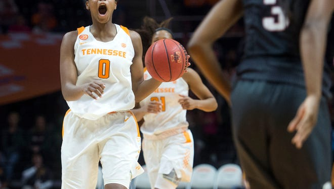 Tennessee's Jordan Reynolds yells out directions to her teammates during the second half of the game against Arkansa at Thompson-Boling Arena on Sunday, February 19, 2017. Tennessee beat Arkansas, 59-46.