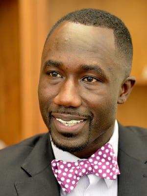 Jackson Mayor Tony Yarber talks about his first one hundred days in office during an interview Monday at City Hall.