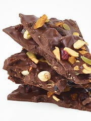 Dark Chocolate Bark with trail mix and espresso crunch by Sweet on Vermont are available all over Vermont or online.