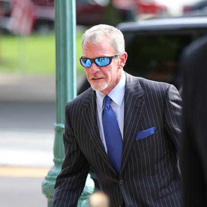Colts owner Jim Irsay arrives at the Hamilton County Government and Judicial Center, for a hearing on a plea agreement in his impaired driving case.