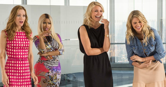 """Leslie Mann. left, Nicki Minaj, Cameron Diaz and Kate Upton laugh it up in """"The Other Woman."""""""