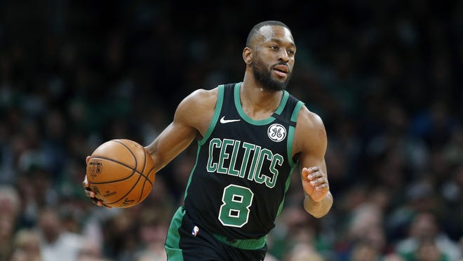 Boston Celtics' Kemba Walker plays against against the Oklahoma City Thunder during an NBA basketball game in March in Boston.