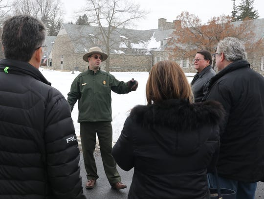 National Park Service Ranger Mike Twardy speaks to