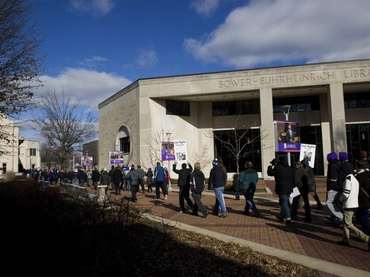 DENNY SIMMONS / COURIER & PRESS The re-enactment of the 1963 March on Washington, an annual event on Martin Luther King Jr. Day at the University of Evansville, begins at 11:45 a.m. Monday. This is a look at participants from a previous year.