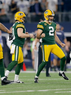 Packers kicker Mason Crosby (2) reacts after kicking a field goal to give Green Bay a 31-28 lead over the Dallas Cowboys in their playoff game in January.