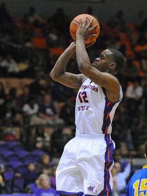 Northwestern's State's Jalan West hit a pair of buzzer-beating 3-pointers during Saturday's comeback victory over UNO.