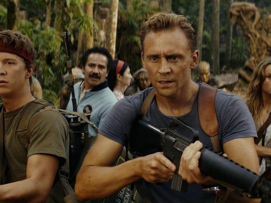 """Thomas Mann (from left), John Ortiz, Tom Hiddleston and Brie Larson star in """"Kong: Skull Island."""""""