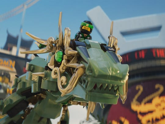 Lloyd (voiced by Dave Franco), the Green Ninja, rides