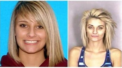 Jamie France, in DMV photo, left, and mug shot, right