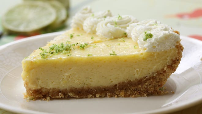 Close up of a key lime pie.