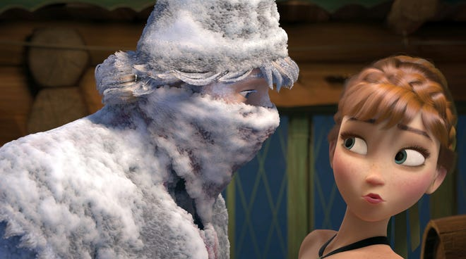 """A scene from Disney's animated musical """"Frozen."""" The film has scored a chart-topping soundtrack, a Top 40 song (""""Let It Go"""") and a Golden Globes win for best animated feature."""