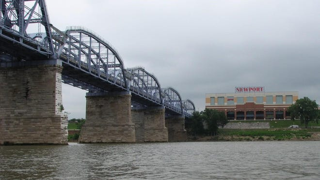 The view of the Purple People Bridge and Newport on the Levee from the ride on the Ohio River.