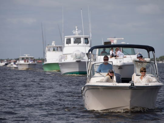 A line of boats proceed during the 45th annual Blessing