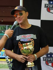 Garden City native Jeff Krischano is interviewed after winning a powerboat race earlier this year.
