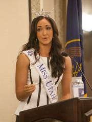 Miss Utah Krissia Beatty addresses the St. George Chamber of Commerce Wednesday, Aug. 5, 2015.