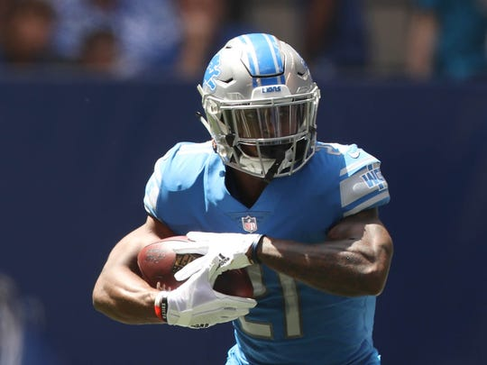 Lions RB Ameer Abdullah rushes against the Colts, Aug. 13, 2017 in Indianapolis.