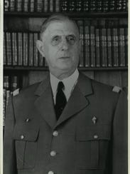 General Charles de Gaulle photographed in uniform against