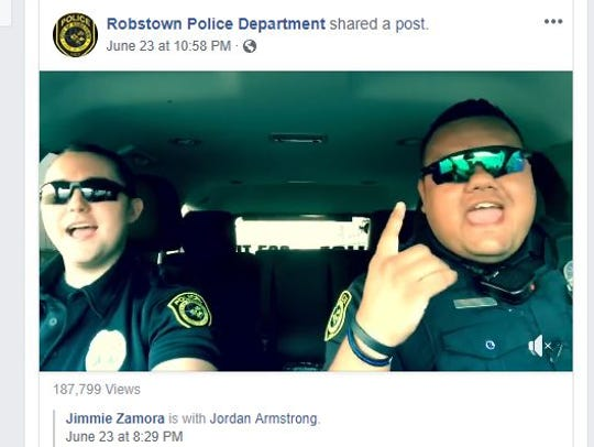 A screenshot shows Robstown Police officers Jimmie