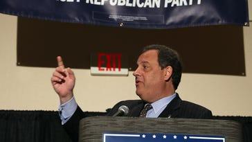 Gov. Chris Christie speaks to the New Jersey delegates Thursday in Beachwood, Ohio.