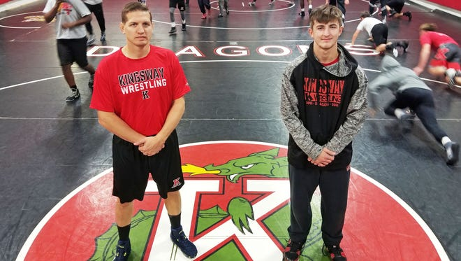 After a state semifinal appearance last season, Kingsway coach Mike Barikian, left, and 132-pound state champ Quinn Kinner, right, aim for another run to Toms River in 2017-18.