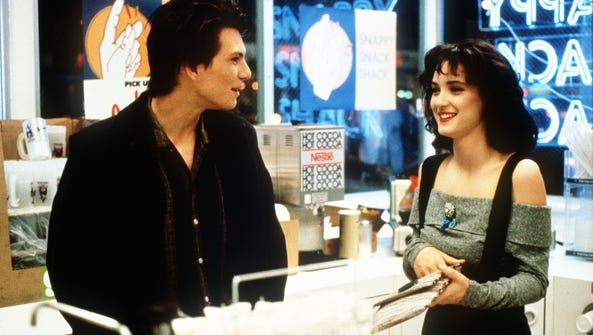 """Winona Ryder and Christian Slater in a scene from """"Heathers."""""""