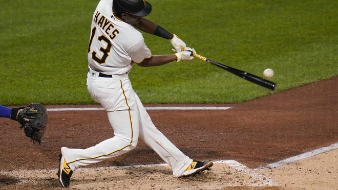 Pittsburgh Pirates rookie third baseman Ke'Bryan Hayes connects against the Chicago Cubs on Tuesday, Sept. 1, 2020, in Pittsburgh.