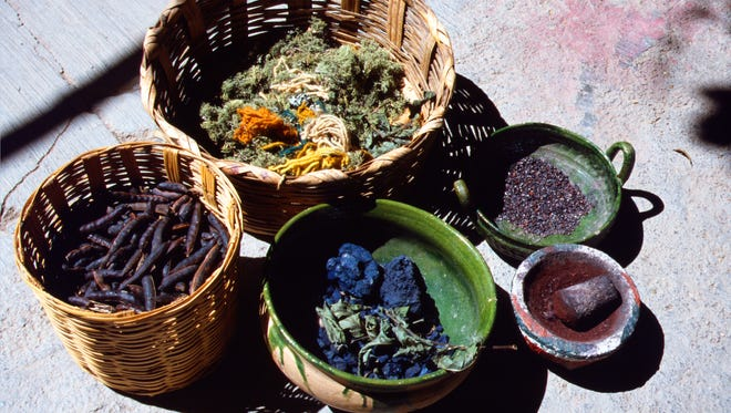 Dyestuffs in their natural form, used by Mexican weavers.