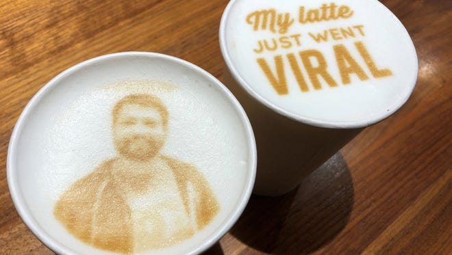 A selfie of Jason Minto, photograher for The (Wilmington, Del.) News Journal is printed on top of a latte at Mug & Spoon coffee shop in Rehoboth Beach, Del.