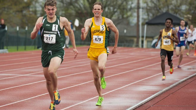 Vermont's Thomas O'Leary competes in the men's 1500m race during the America East outdoor Track Field Championships at the Frank H. Livak Facility on the campus of the University of Vermont on Sunday in Burlington.