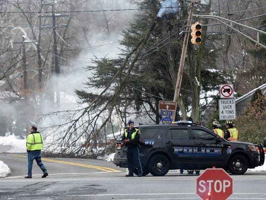 A broken tree branch caught fire on a power line in Ho-Ho-Kus on Thursday, March 8.