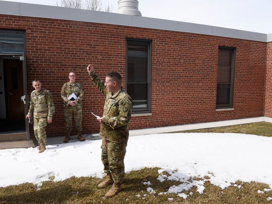 A tour of the St. Cloud Armory building Wednesday, April 11, highlights an area that would be filled in with new construction if a proposed renovation project goes forward.