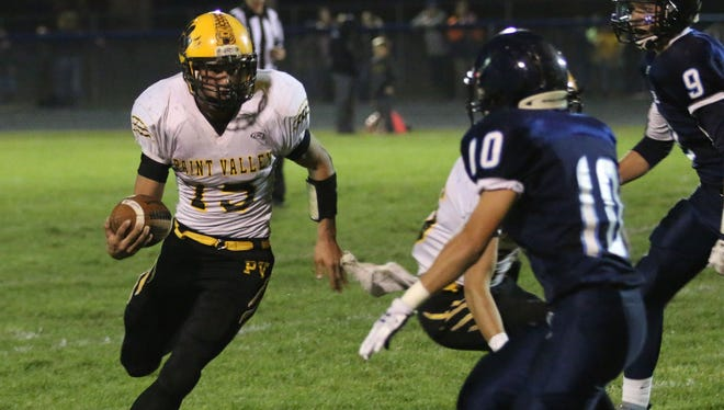 Paint Valley's Drake Stanforth carries the football against Adena last season during a Week 9 game. Stanforth will be looked upon to do the heavy lifting for the Bearcats' offense this year.