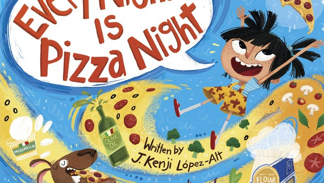 """""""Every Night Is Pizza Night"""" is written by cookbook author and restaurateur J. Kenji López-Alt and illustrated by Gianna Ruggiero."""