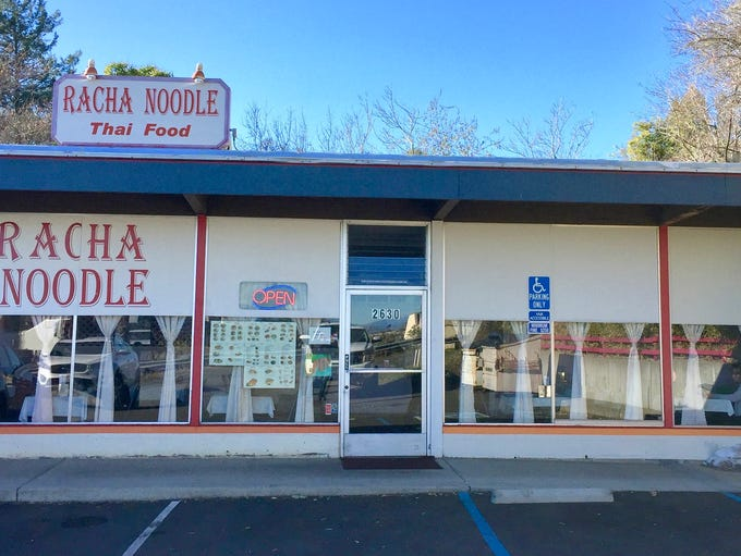 Entrance to Racha Noodle near the intersection of California