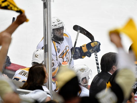 Nashville Predators defenseman P.K. Subban (76) looks up at cheering Penguins fans after his goal was waved off during the first period of game 1 in the Stanley Cup Final at PPG Paints Arena  Monday, May 29, 2017, in Pittsburgh, Pa.