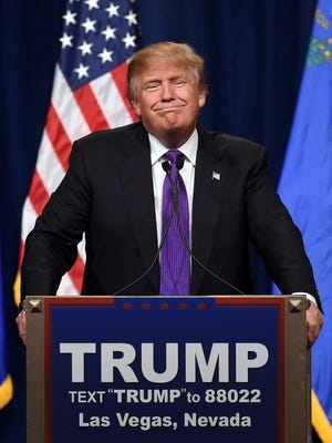 Donald Trump in Las Vegas on Feb. 23, 2016, after winning his third primary contest in a row.