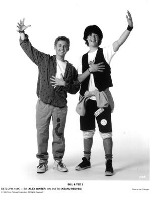 """Alex Winter and Keanu Reeves in """"Bill & Ted's Excellent Adventure,"""" circa 1989."""