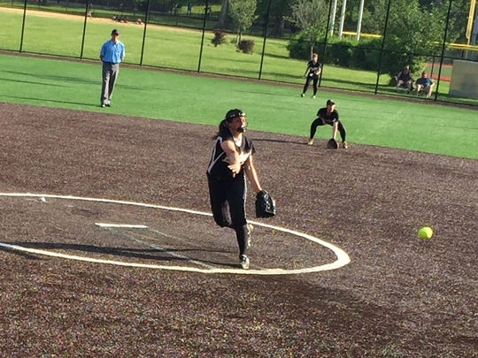 Cedar Grove's Mia Fiaeta delivers a pitch in the county semifinals at Ivy Hill Park.