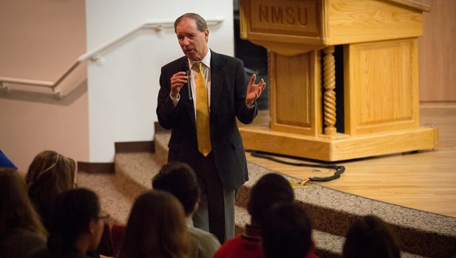 U.S. Sen. Tom Udall speaks to students at NMSU's Corbett Center Student Union during the 27th annual Student Leadership Institute.