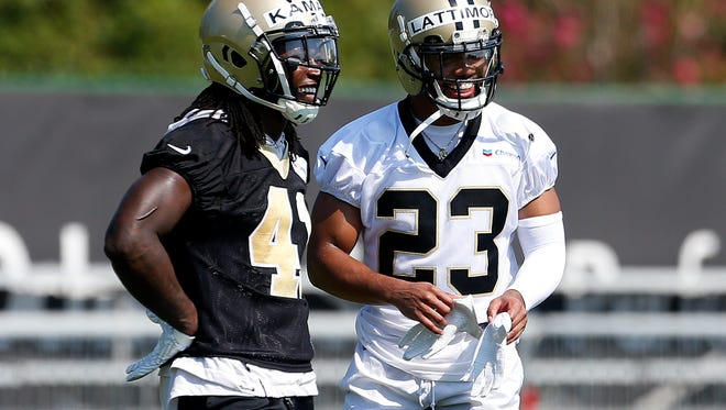 Last year's rookies of the year Alvin Kamara (41) and Marshon Lattimore (23) are hoping to reach even greater heights during their sophomore seasons with the New Orleans Saints.