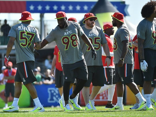 Pro Bowl practice this week: Looks pretty intense. That's Lorenzo Alexander (57), Kyle Williams (95) and Zach Brown (53) of the Bills.